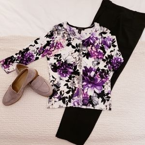 White House Black Market Floral Cardigan Sweater